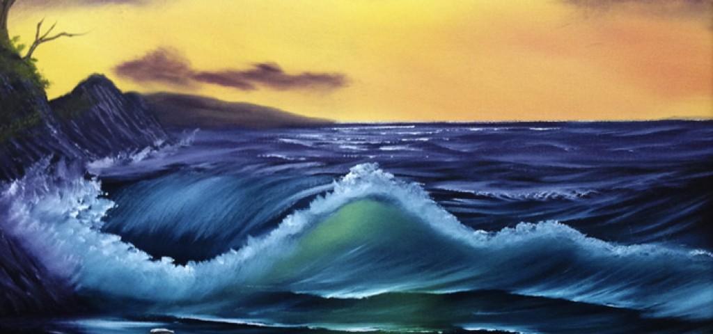 Bob Ross Painting Ocean Sunset